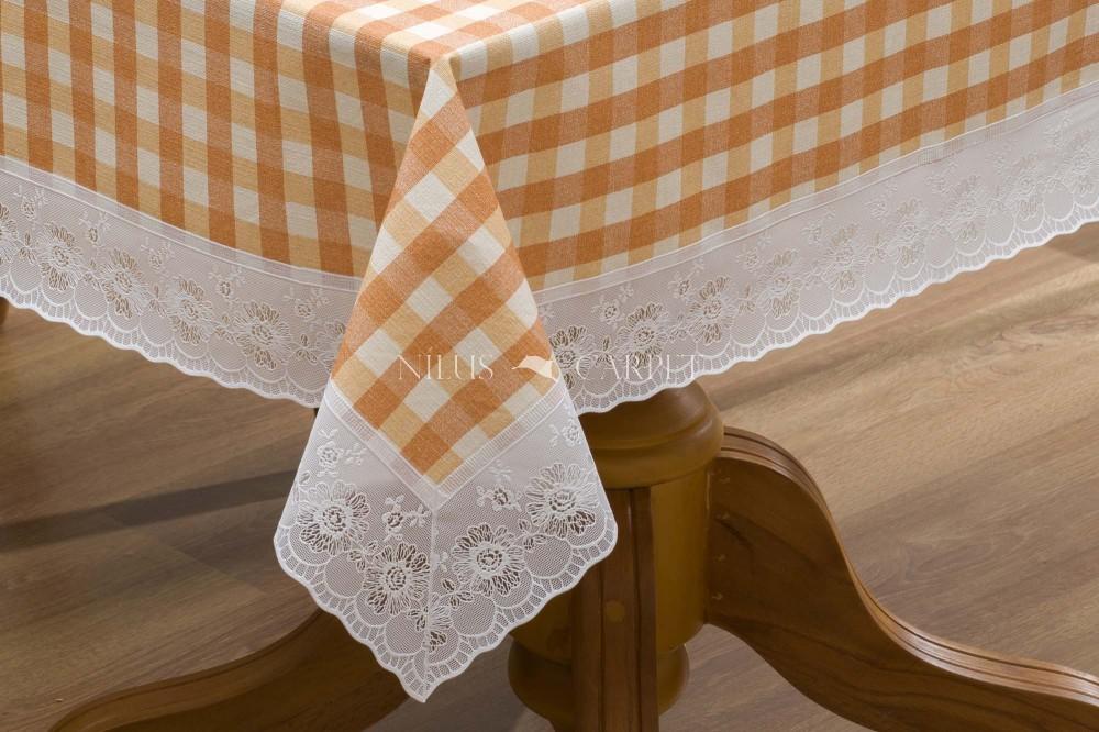 Ariana sárga kockás garden lemosható asztalterítő 122x152cm