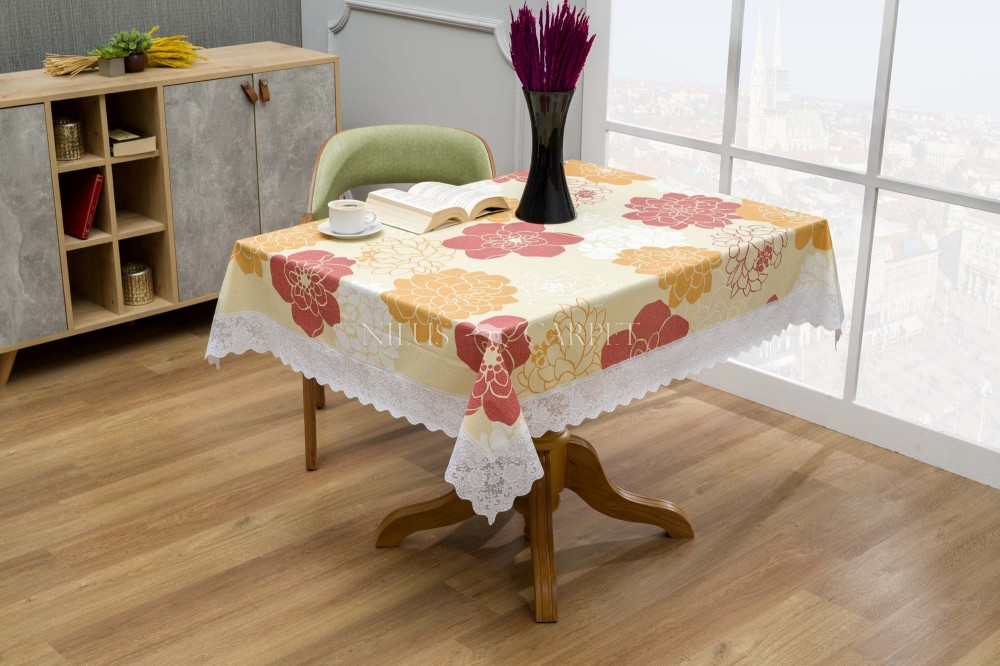 Ariana Sárga nagy rózsás lemosható asztalterítő 122x152cm