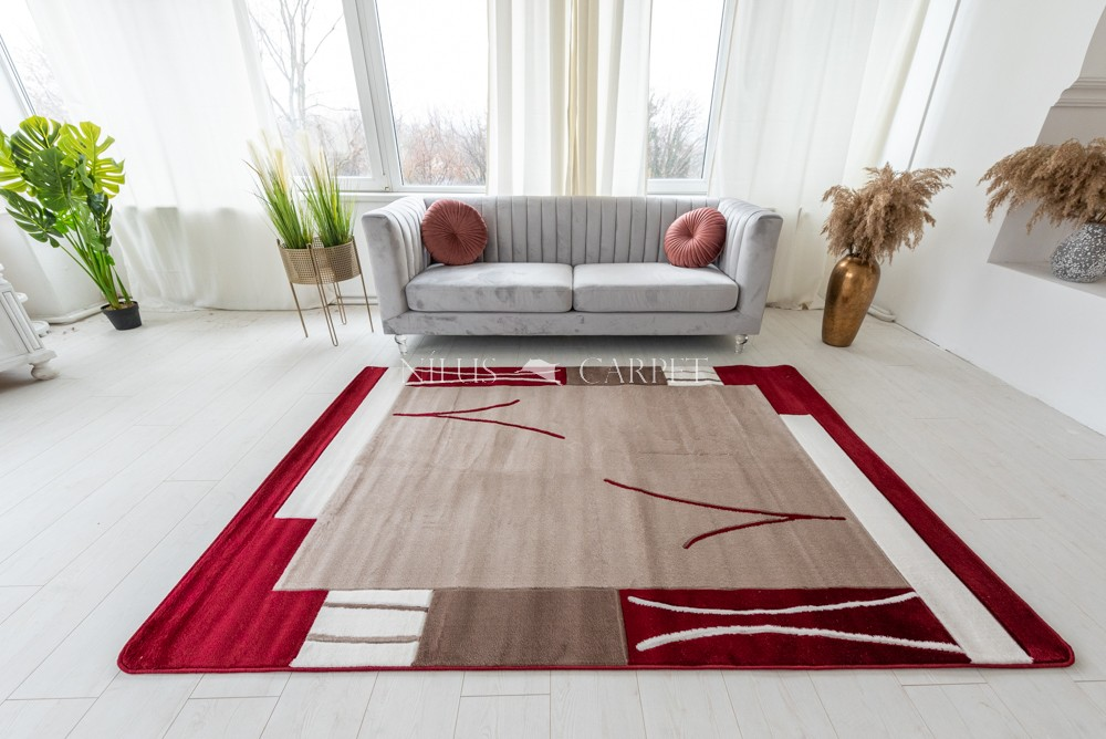 Beethoven beige red (bordó-bézs ) modern keretes szőnyeg 3db-os 60xszett