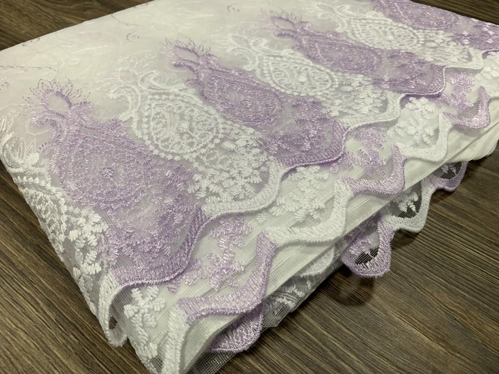 Kész luxury brillant fehér lila karikás 300x260cm függöny