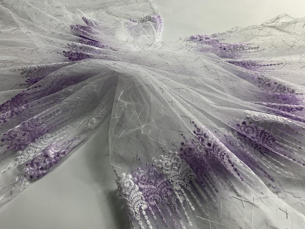 Kész luxury brillant 75 fehér lila 300x260cm függöny