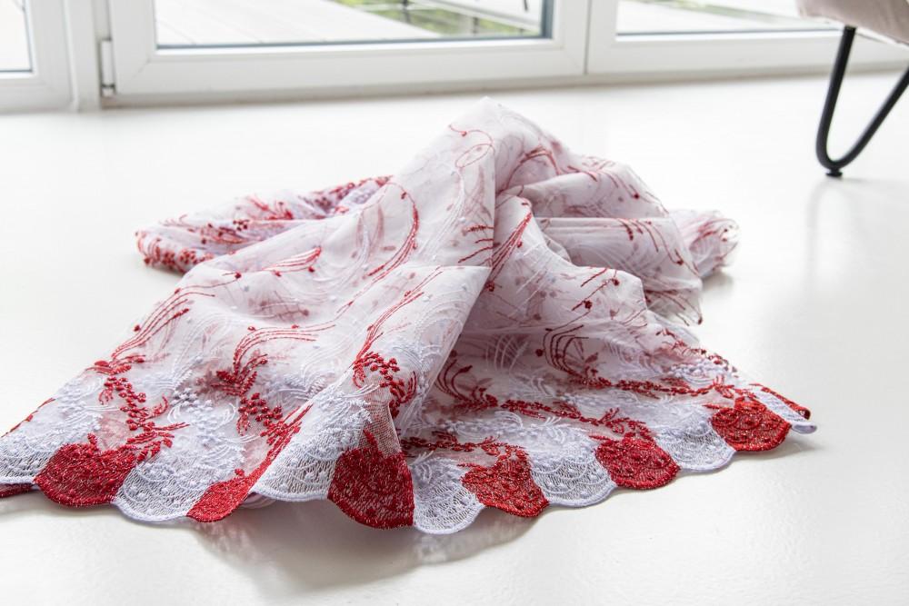 Kész luxury brillant fehér piros függöny 300x180cm