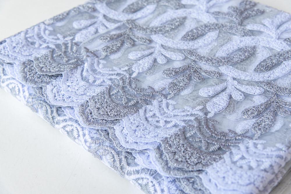 Kész luxury brillant fehér ezüst virágos 300x150cm függöny