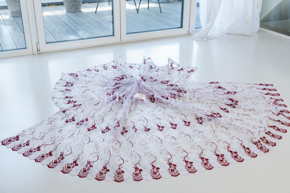 Kész luxury brillant Málnás bordó fehér függöny 400x260cm