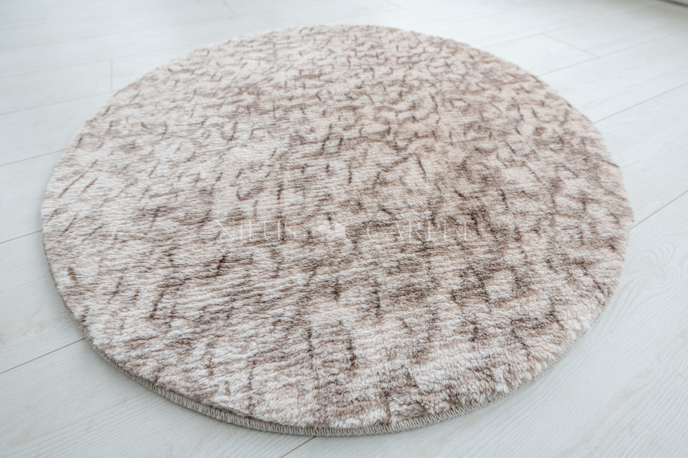 Damaskus plüss shaggy 83 beige 100cm kerek