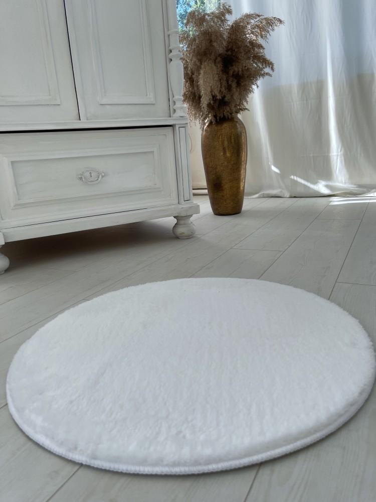 Damaskus plüss shaggy White kerek 67cm