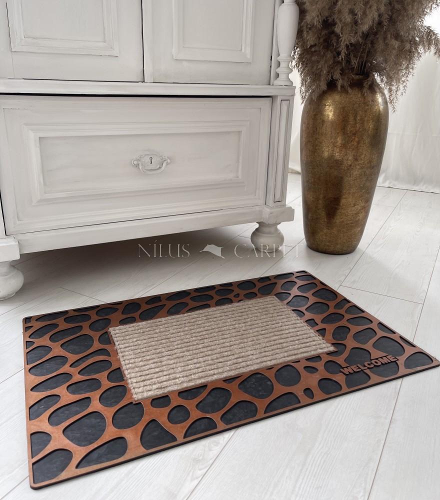 Extra bronz leopard gumis lábtörlő 45x75cm