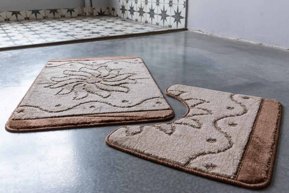 Fürdőszoba szőnyeg 2 részes barna Aurora mintás 50x80cm