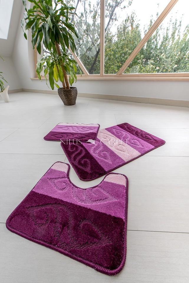 Fürdőszoba szőnyeg Teljes 3 részes lila indás