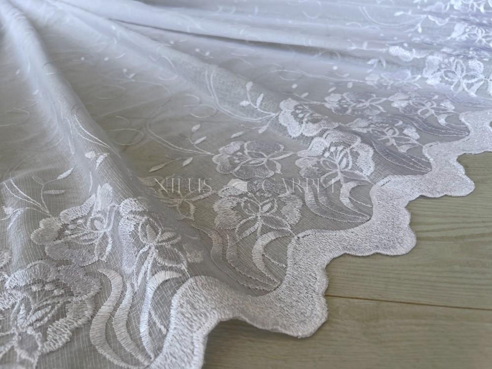 Kész függöny Felicity fehér vintage hímzett rózsa 300x260cm