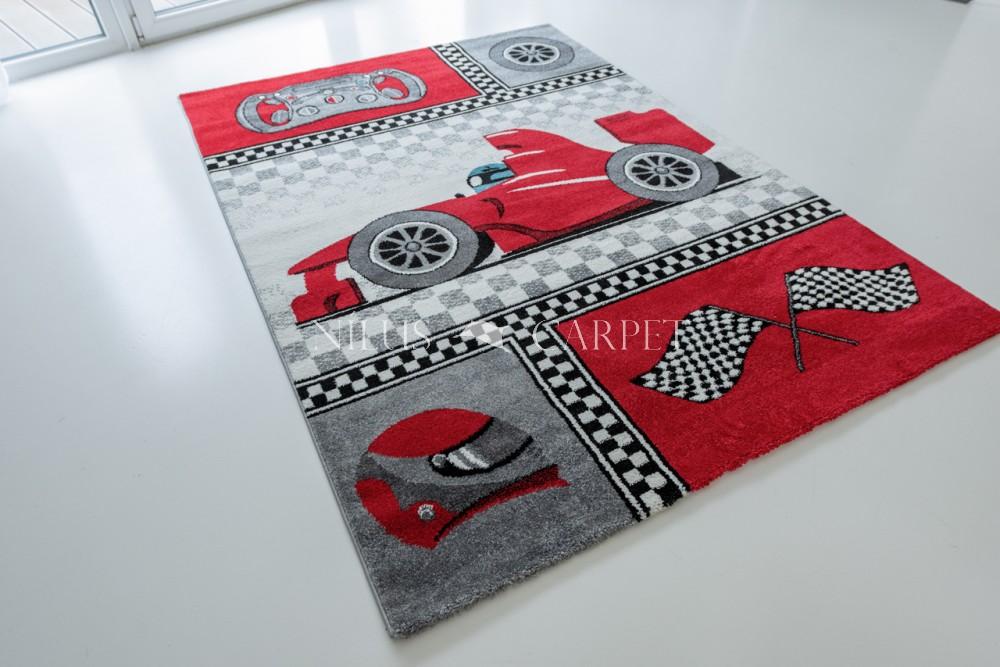 Gyerek szőnyeg Autós Forma1 mintás Red 130x190cm