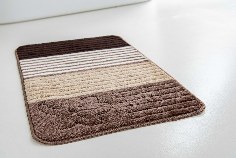 Fürdőszoba szőnyeg Capucino csíkos virág 50x80cm