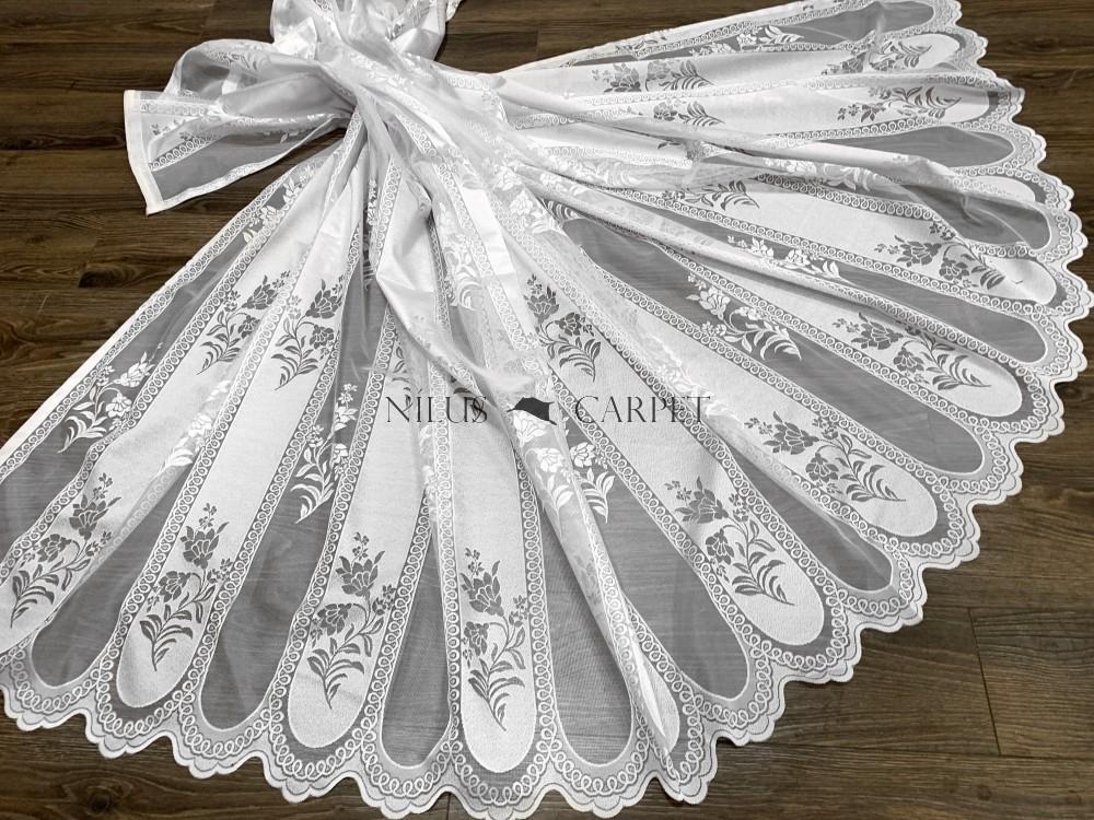 Kész függöny hófehér alapon fehér intarzia virág 300x160cm