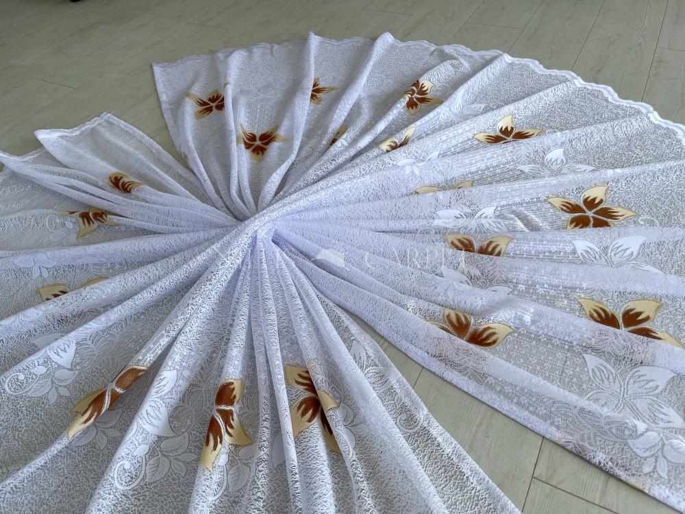 Kész függöny hófehér alapon barnás és fehér virág minta 300x250cm