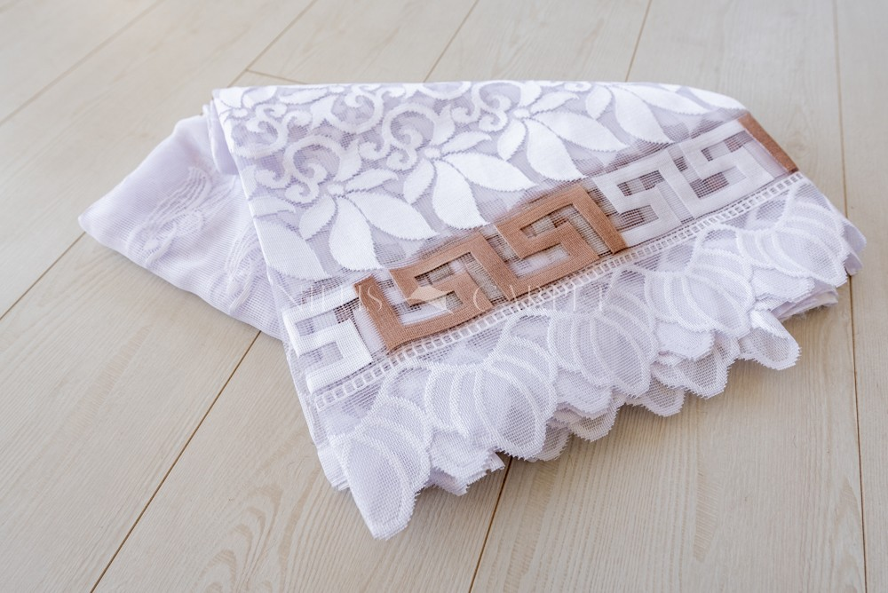 Kész függöny hófehér alapon új görög karamell minta 300x160cm