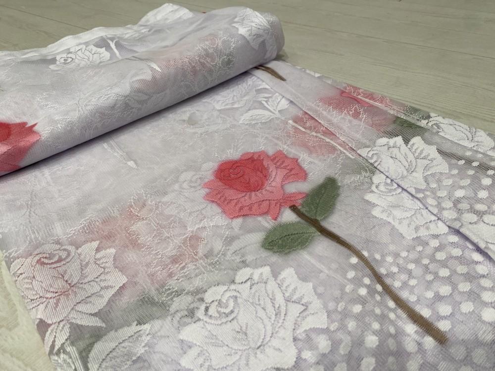 Kész függöny hófehér alapon Vintage rózsa 300x160cm