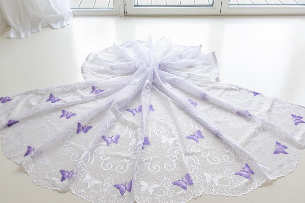 Kész fehér lila lepkés 300x120cm függöny