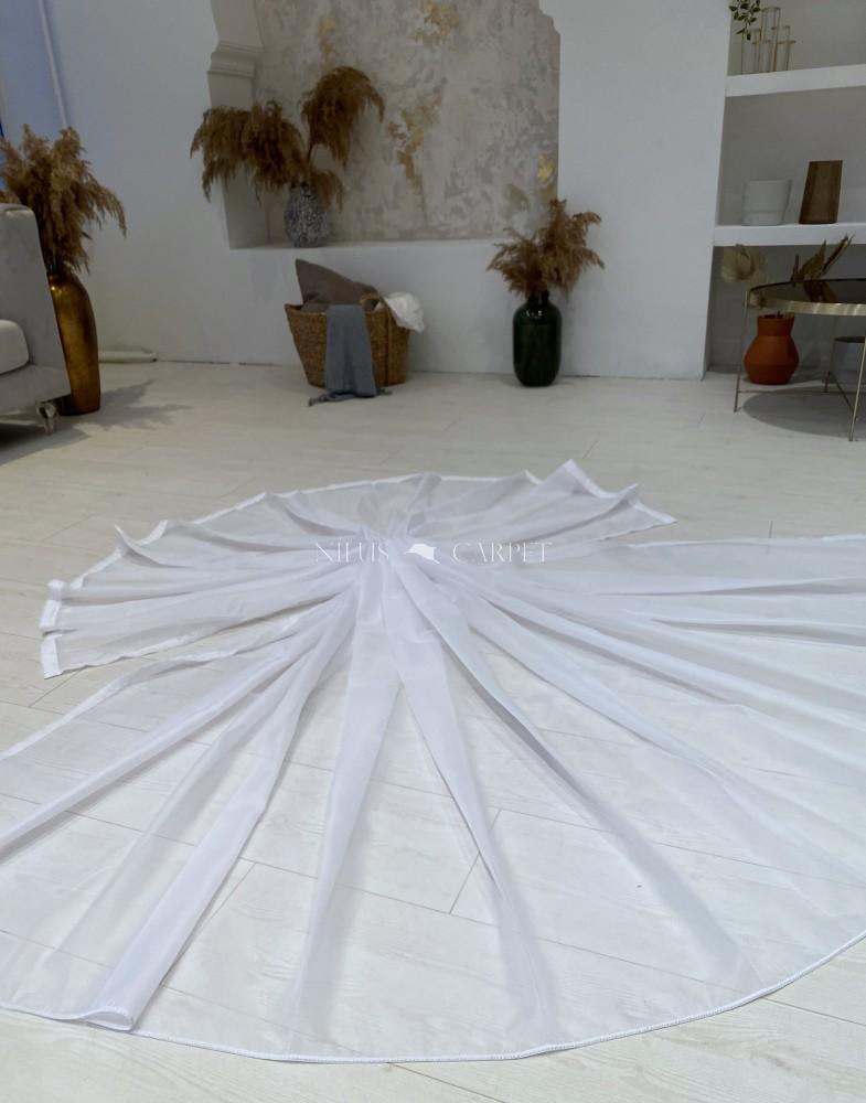 Készre varrt függöny Organza luxury fehér alapon fehér  300x260cm