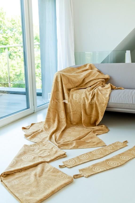 Luxury Kész Sötétítő függöny beige (bézs) dekor felhajtópánttal 2db 140x160cm
