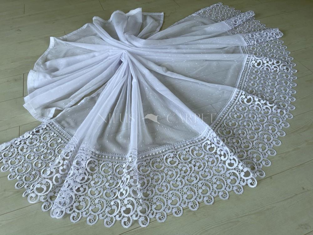 Kész függöny luxury fehér karikás csipkés aljú hópehely mintás 300x160cm