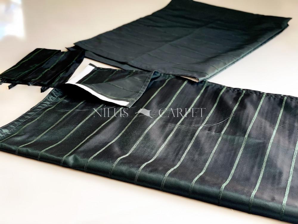 Luxury Kész Sötétítő függöny Mia Dimo Green (sötétzöld) dekor design feljatópánttal 2db 140x180cm