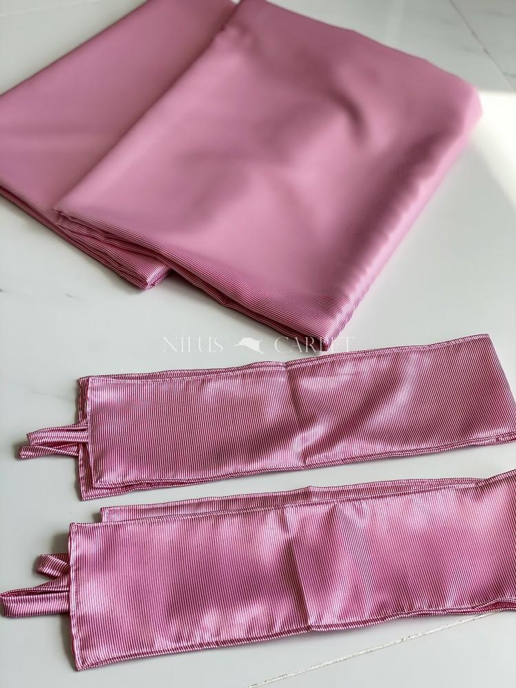 Luxury Kész Sötétítő függöny Selyem Alice Pink (rózsaszín) dekor design feljatópánttal 2db 140x180cm