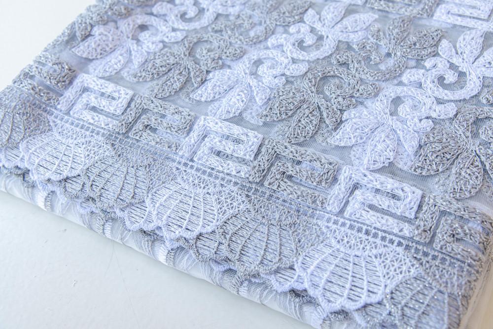 Kész luxury brillant fehér szürke görög függöny 300x180cm