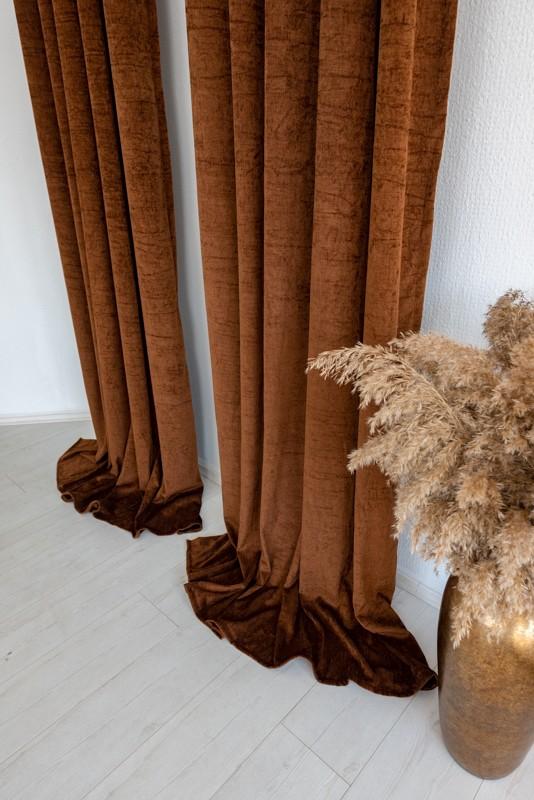 Shayenne Luxury Készre varrt bársony sötétítő függöny Dark Brown  ( Sötét Barna )  2db 160x270cm