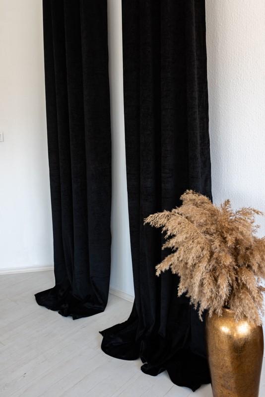 Shayenne Luxury Készre varrt bársony sötétítő függöny Black ( fekete) 2db 180x270cm