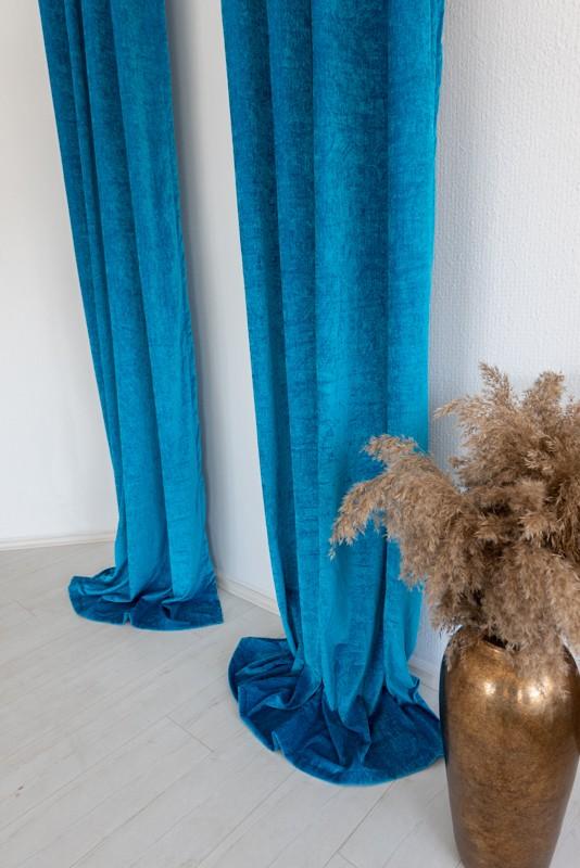 Shayenne Luxury Készre varrt bársony sötétítő függöny Turquoise blue ( Türkizkék )  2db 160x270cm