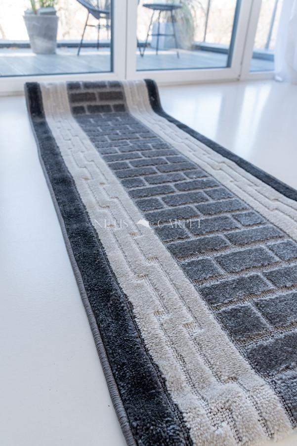 Futó méterben macskakőves szürke fehér Gumis aljal 80cm széles minöségi szőnyeg