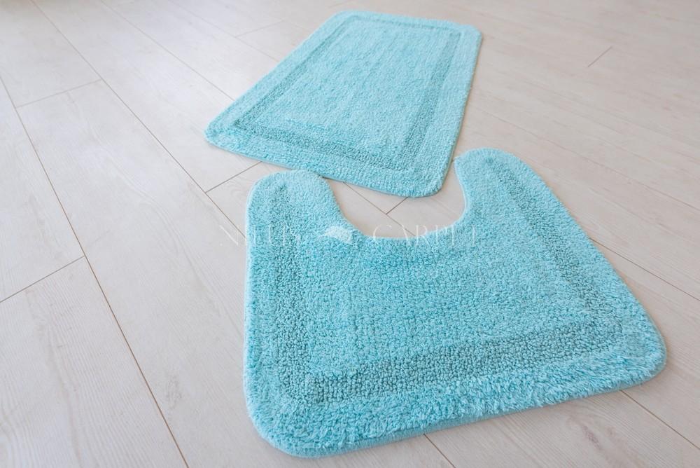 Mandalay India pamut élénk kék fürdőszoba szőnyeg  2 részes 50x80cm