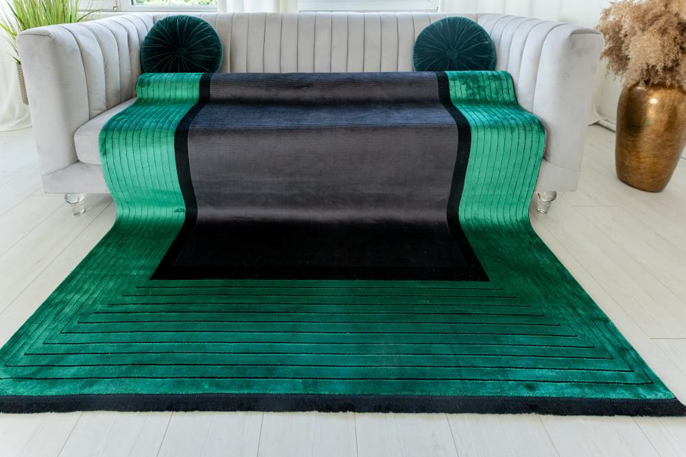 Pera Art Green Black modern szőnyeg 80x150cm