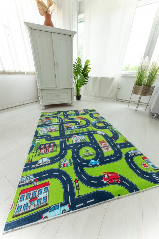 Plüss gyerek szőnyeg zöld autópályàs 80x150cm
