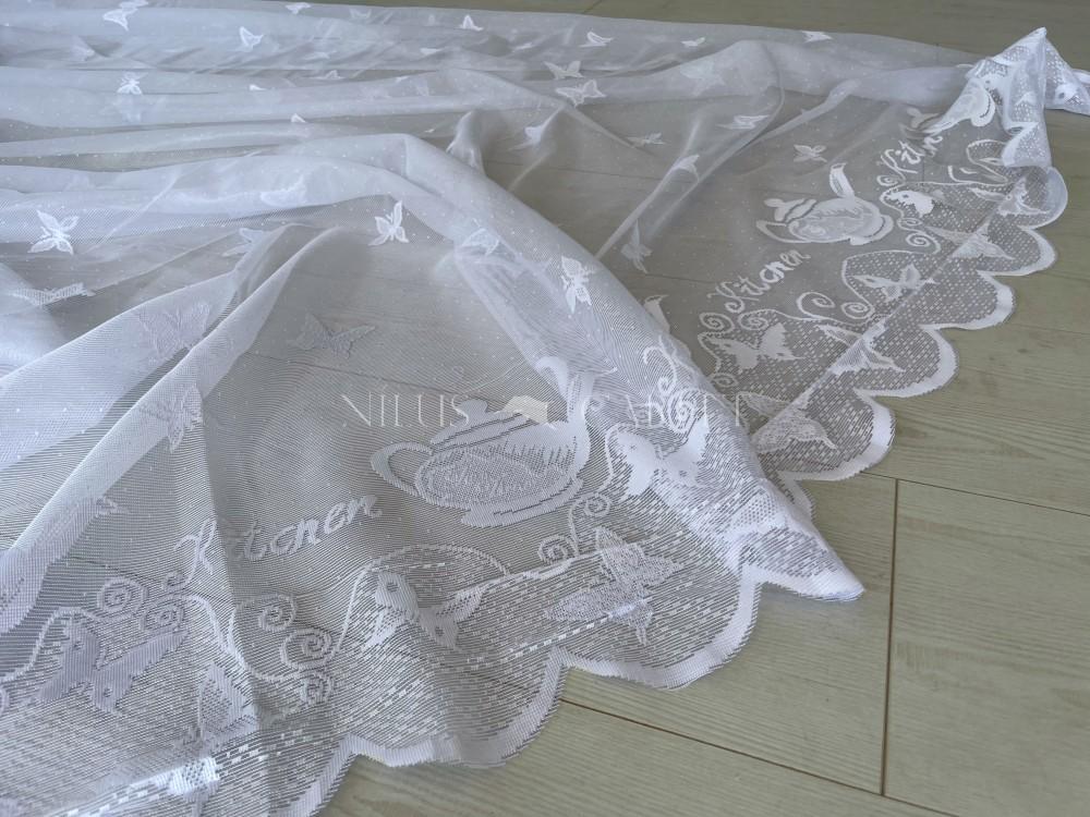 Kész függöny hófehér alapon Jacquard lepkés váza white 300x250cm