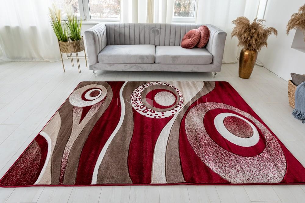 Stradivarius red beige (bordó-bézs) modern keretes szőnyeg 60x100cm