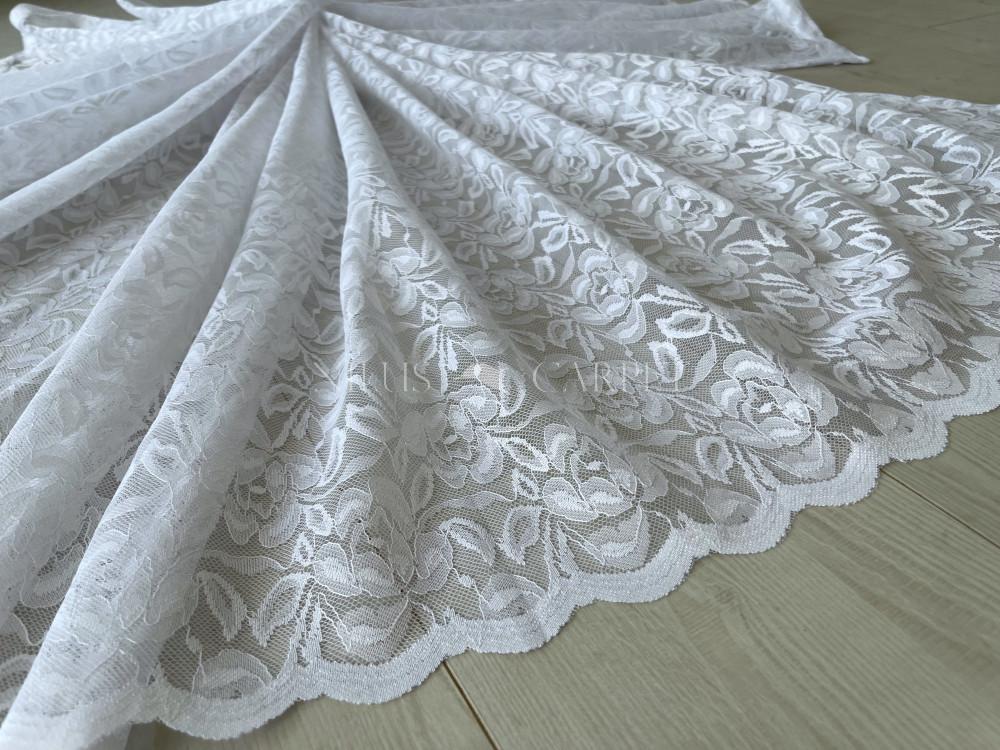 Kész függöny hófehér alapon Vintage Classic white Flower mintás 300x150cm