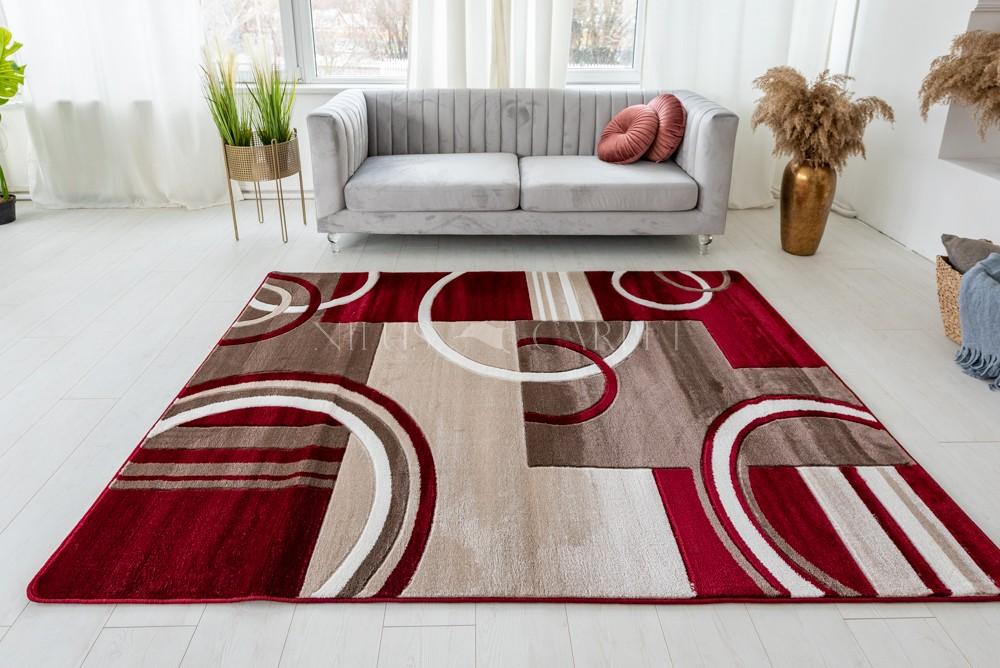 Vivaldi beige red (bordó-bézs ) modern keretes szőnyeg 60x220cm
