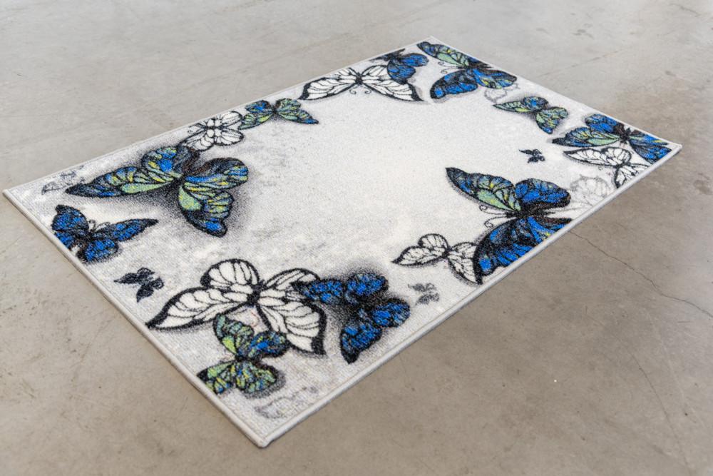 Belépő szőnyeg gumis kék pillangók 50x80cm