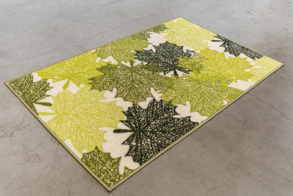 Belépő szőnyeg gumis aljjal zöld tavaszi levelek 50x80cm