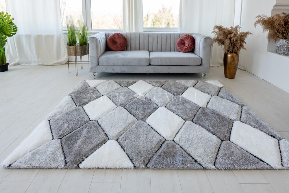 California 420 3d Shaggy 5cm gray white ( szürke ) szőnyeg 200x280cm