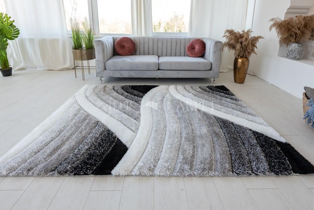 California 482 3d Shaggy 5cm gray white ( szürke ) szőnyeg 200x280cm