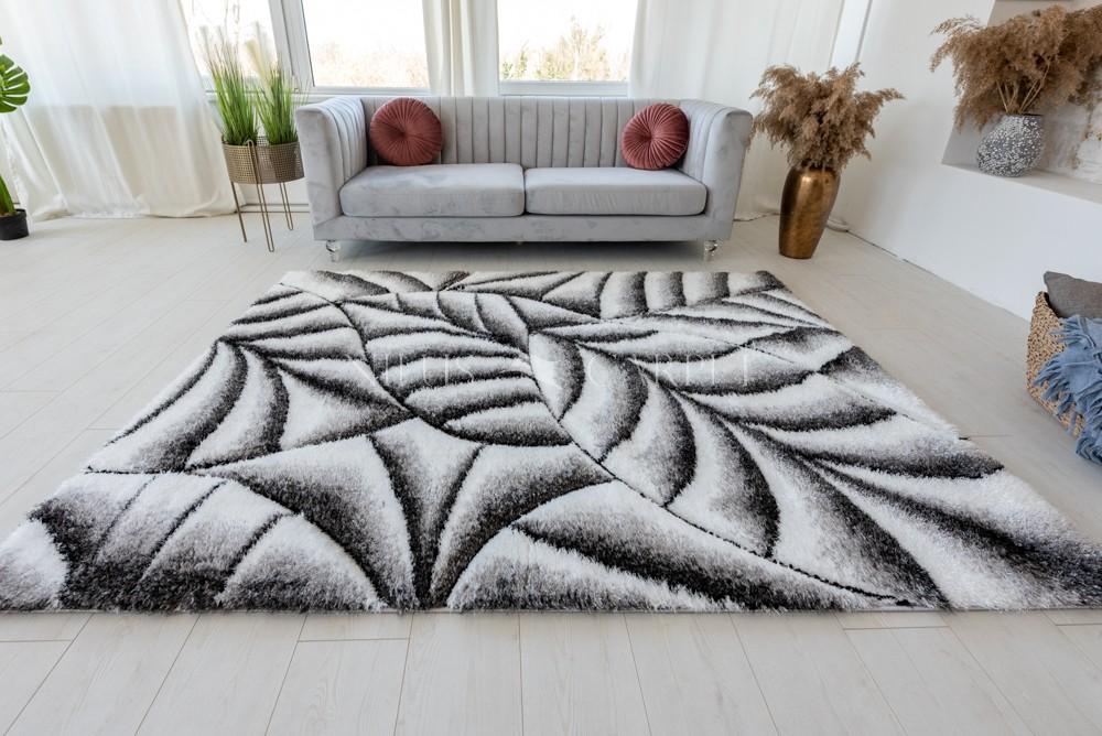 California 502 3d Shaggy hullámos 5cm white gray ( szürke ) szőnyeg 60x110cm