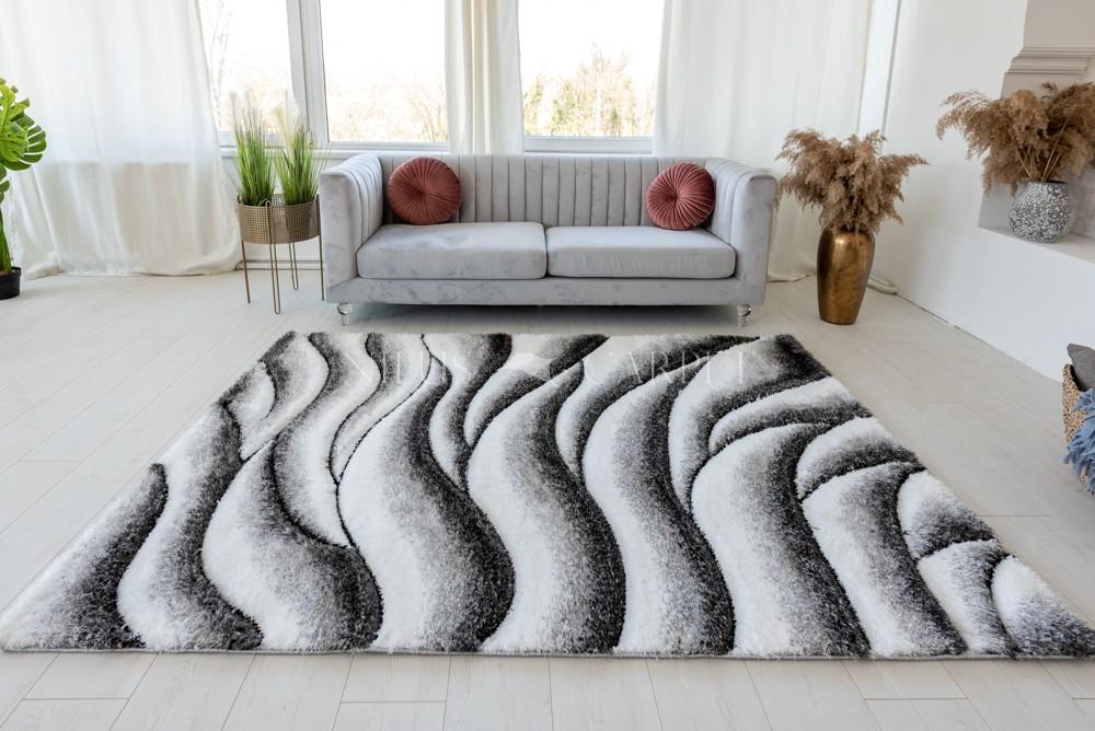 California 3d Shaggy hullámos 5cm white gray ( szürke ) szőnyeg 200x280cm