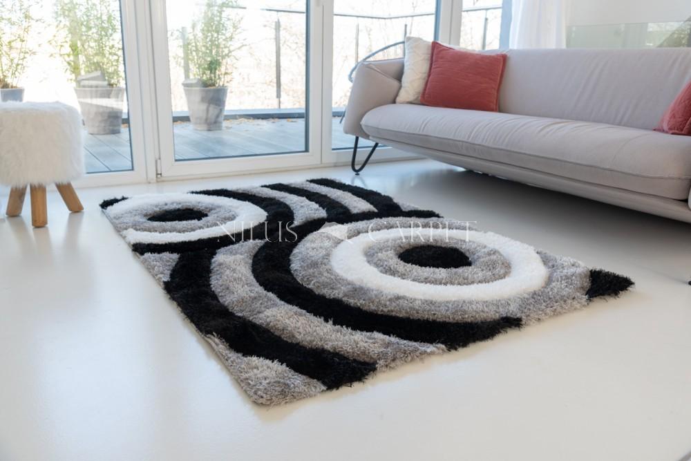 California 3d Shaggy 5cm 324 gray-black (szürke-fekete) szőnyeg 200x280cm