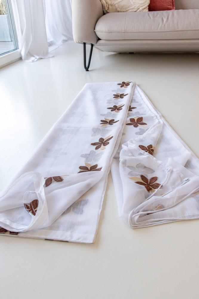 Kész luxury fehér alapon csoki virág 300x260cm függöny