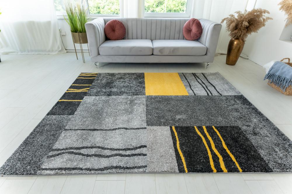 Elephant Gira Carpet 3873 (yellow-gray) futószőnyeg 80x250cm Sárga-Szürke