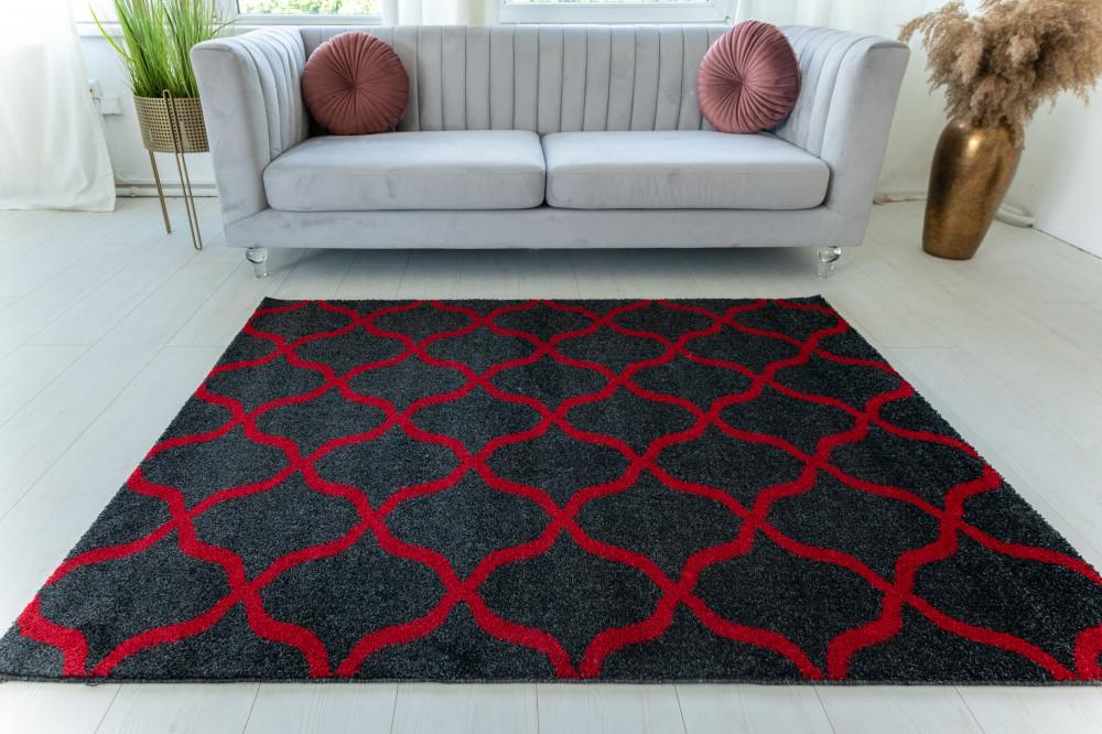 Elephant Gira Carpet 3879 (red-antracit) szőnyeg 200x290cm Piros-Antracit