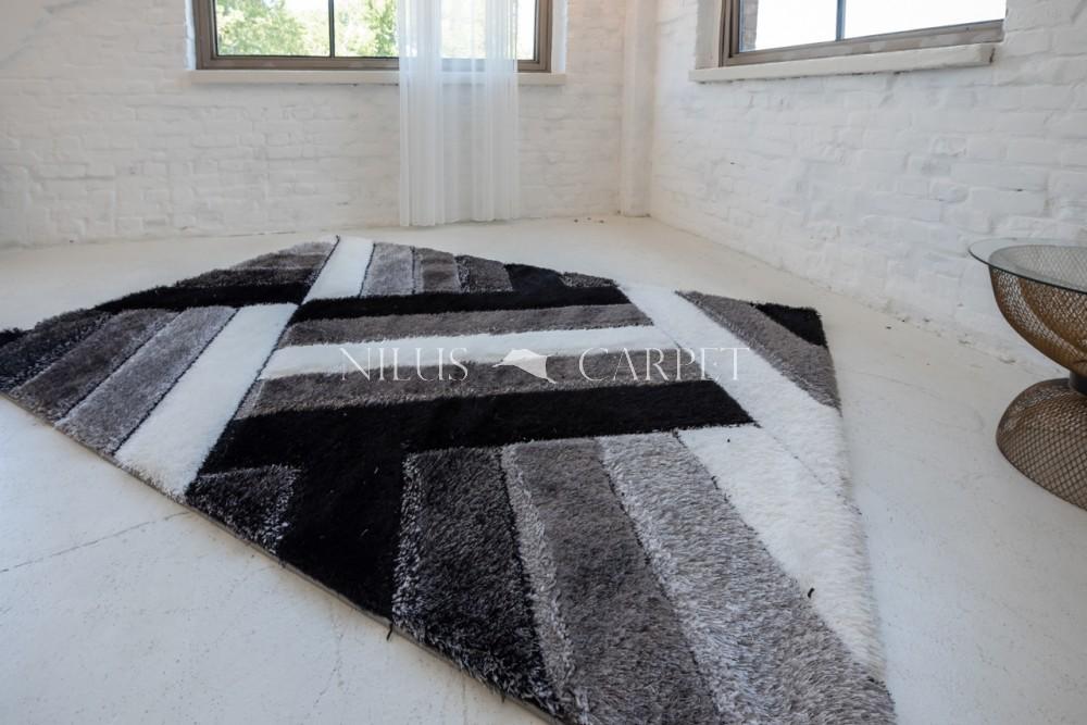 Elvira 3d Shaggy szőnyeg 1145 black-gray (fekete-szürke) 200x290cm