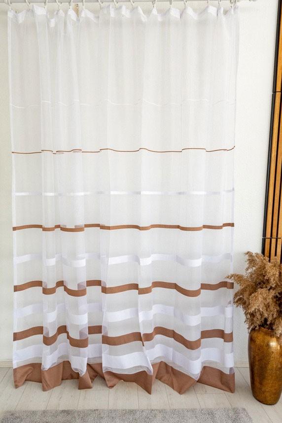 Jacquard Giselle készre varrt függöny fehér alapon barna csíkos 300x150cm Barna
